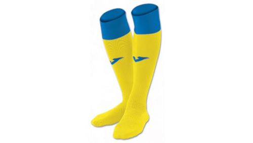 FOOTBALL SOCKS CALCIO 24 YELLOW-ROYAL -PACK 4-