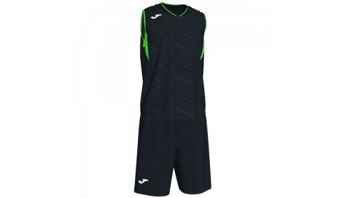 CAMPUS SET BASKET BLACK-FLUOR GREEN SLEEVELES