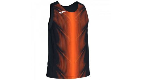 OLIMPIA T-SHIRT BLACK-ORANGE SLEEVELESS